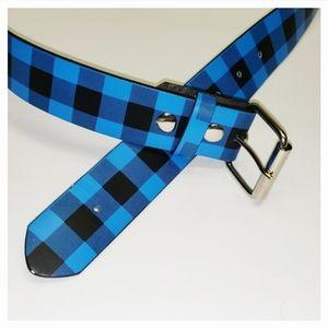 Plaid Leather Belt